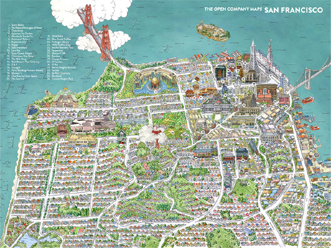San Francisco Map The Open Company Borgarmynd